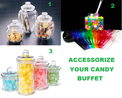 'Christmas Candy Buffet Jars' from the web at 'http://blog.candyconceptsinc.com/wp-content/uploads/2016/12/Candy-Accessories.png'